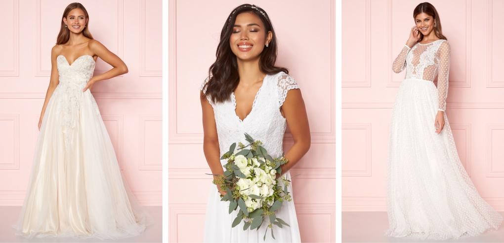 Langermet brudekjoler og Blondebrudekjoler fra Moments New york, Zetterberg Couture og Ida Sjöstedt