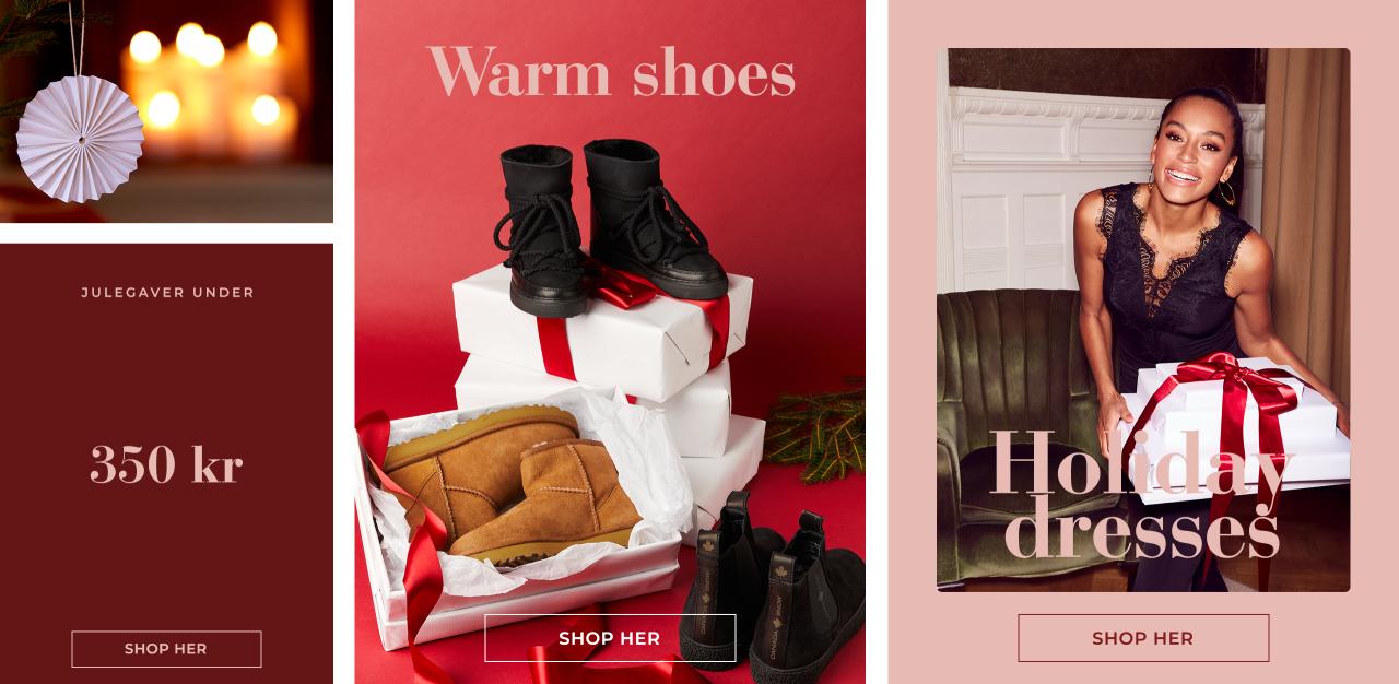 Julegaver under 350 kr, warm shoes & holiday dresses - Shop her