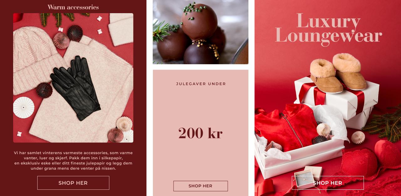 Warm accessories, luxury loungewear og julegaver under 200 kr - Shop her