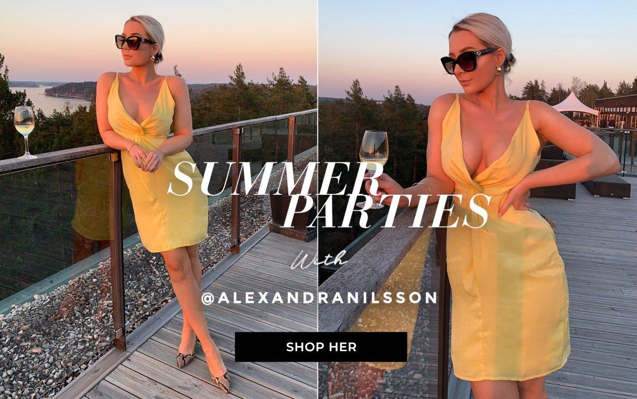 ab48977e515d Summer Parties with Alexandra Nilsson. Kjoler · Topper · Nyheter · Bukser