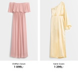Pink Chiffon Gown och Yellow Satin Gown