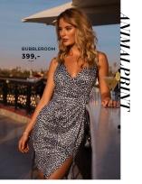 Leopardmønstret kjole med wrapdetaljer