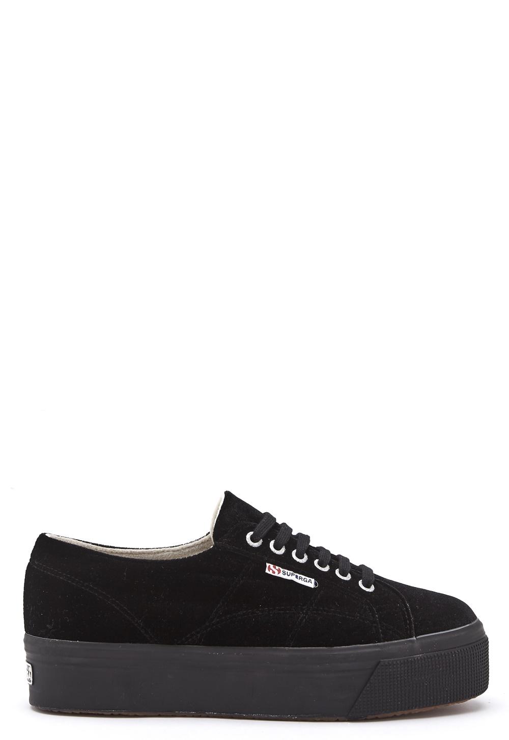 Superga Velvet Sneakers Black - Bubbleroom
