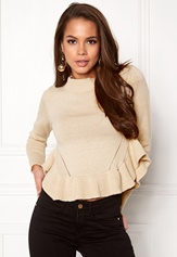 BUBBLEROOM Livia knitted sweater Beige Bubbleroom.no