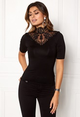 Chiara Forthi Intrend scallop highneck top Black