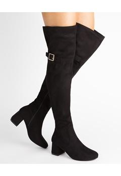 Glossy Overknee støvler, Iris Svart Bubbleroom.no