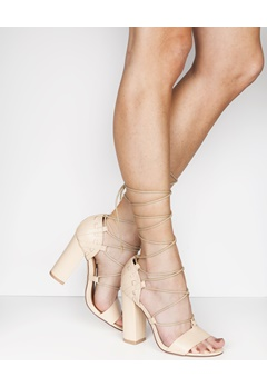 Truffle Lace Up Sandaletter, Vela47 Lys beige Bubbleroom.no