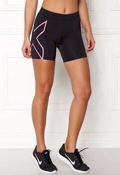 2XU Core Compression Shorts Black/Fluro Pink Bubbleroom.no