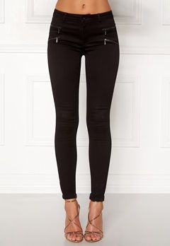 ONLY Royal Skinny Zip Jeans Black Bubbleroom.no