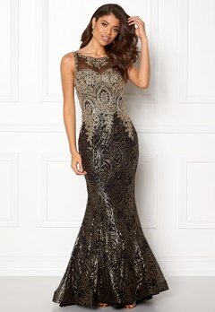 SUSANNA RIVIERI Fishtail Sequin Dress Gold/Black Bubbleroom.no