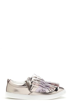 LOST INK Nash Ruffle Slip-On Shoes Pewter Bubbleroom.no