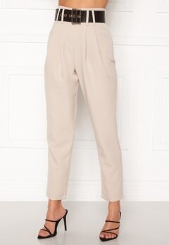 Alexandra Nilsson X Bubbleroom Super highwaisted suit trousers Beige Bubbleroom.no