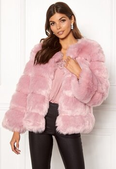 AMO Couture Dusk Faux Fur Short Coat Dusky Pink Bubbleroom.no