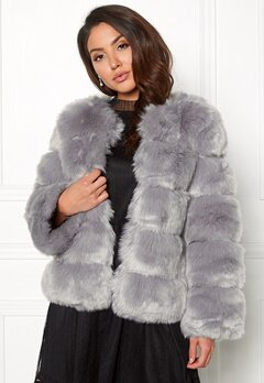 AMO Couture Dusk Faux Fur Short Coat Pewter Bubbleroom.no