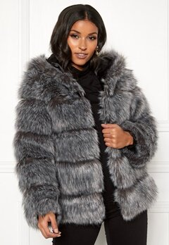 AMO Couture Roma Faux Fur Hood Coat Silver Fox Bubbleroom.no