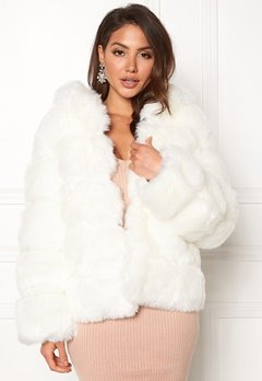 AMO Couture Roma Faux Fur Short Coat Pure White Bubbleroom.no