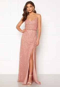 AngelEye Allover Sequin Maxi Dress Rose Gold Bubbleroom.no