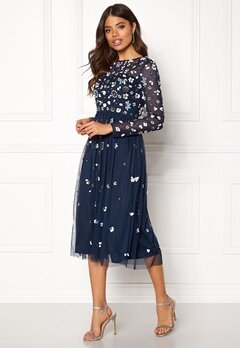 AngelEye Flower Embellished Dress Navy Bubbleroom.no