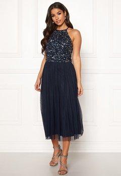 AngelEye High Neck Sequin Dress Navy bubbleroom.no