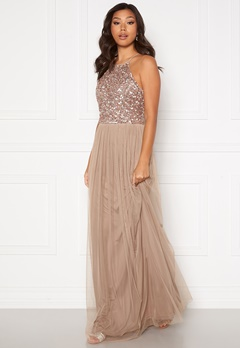 AngelEye High Neck Sequin Maxi Dress Taupe Bubbleroom.no