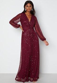 AngelEye Long Sleeve Seqiun Dress Burgundy bubbleroom.no