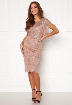 AngelEye Scallop Sequin Midi Dress Rose Gold Bubbleroom.no