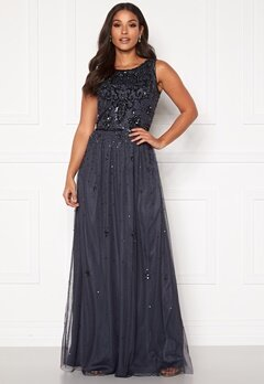 AngelEye Scatter Sequin Maxi Dress Gunmetal Bubbleroom.no