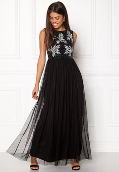 AngelEye Sequin Bodice Maxi Dress Black Bubbleroom.no