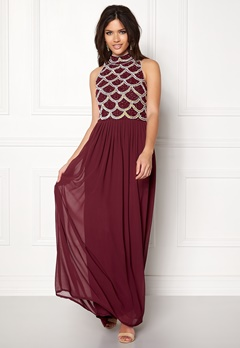 AngelEye Sequin Bodice Maxi Dress Burgundy Bubbleroom.no