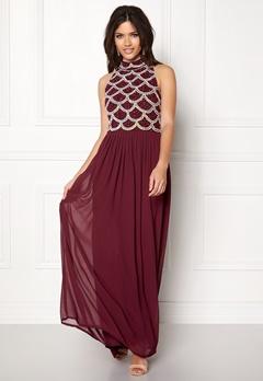 AngelEye Sequin Bodice Maxi Dress Burgundy Bubbleroom.no