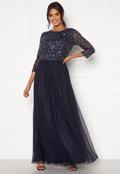 AngelEye Sequin Bodice Maxi Dress Navy Bubbleroom.no