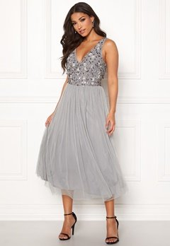 AngelEye Sequin Flower Midi Dress Grey Bubbleroom.no