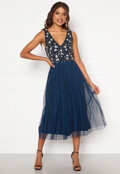 AngelEye Sequin Flower Midi Dress Navy Bubbleroom.no