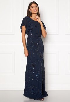 AngelEye Sequin Flutter Maxi Dress Navy Bubbleroom.no