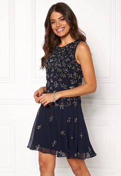 AngelEye Sequin Skater Dress Navy Bubbleroom.no