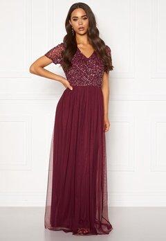 AngelEye Short Sleeve Sequin Dress Burgundy Bubbleroom.no