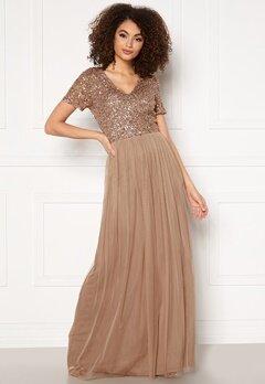 AngelEye Short Sleeve Sequin Dress Taupe Bubbleroom.no
