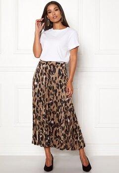 New Look Animal Pleated Midi Skirt Brown Pattern Bubbleroom.no