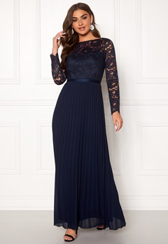 Chi Chi London Anneta Lace Maxi Dress Navy Bubbleroom.no