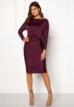 AX Paris Boat Neck Midi Dress Plum Bubbleroom.no