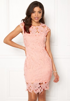 AX Paris Cap Sleeve Crochet Dress Pink Bubbleroom.no