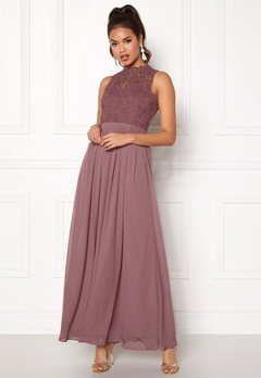 AX Paris Crochet Top Chiffon Maxi Mauve Bubbleroom.no