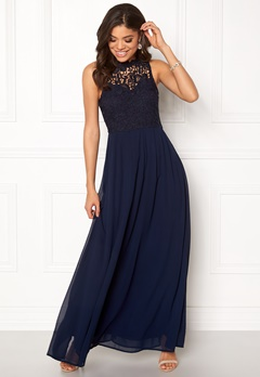 AX Paris Crochet Top Chiffon Maxi Navy Bubbleroom.no