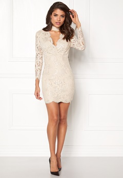 AX Paris Lace Choker Bodycon Dress Nude Bubbleroom.no