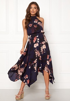 AX Paris Floral Asymmetric Dress Navy Bubbleroom.no