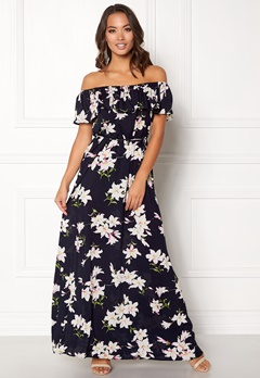 AX Paris Floral Bardot Maxi Dress Navy Bubbleroom.no