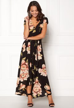 AX Paris Floral Cap Sleeve Maxi Black Bubbleroom.no