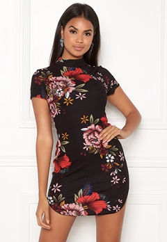 AX Paris Floral High Neck Dress Black Bubbleroom.no