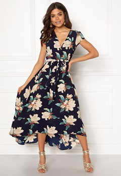 AX Paris Floral Waterfall Dress Navy Bubbleroom.no