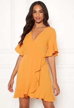 AX Paris Frill Sleeve Wrap Dress Yellow Bubbleroom.no